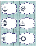 Nautical LABELS - 2 pgs: 1 pg medium, 1 pg large - red white blue - organization