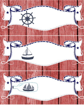 Nautical LABELS - 2 pgs: 1 pg medium, 1 pg large - red white blue - organization
