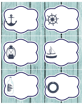 Nautical LABELS - 2 pgs: 1 pg medium, 1 pg large - red whi