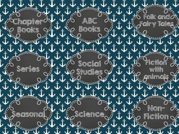 Nautical Library Book Bin Labels