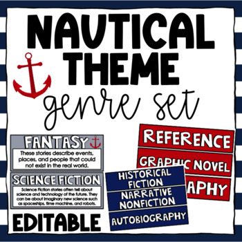 Nautical Library Labels and Genre Posters Editable