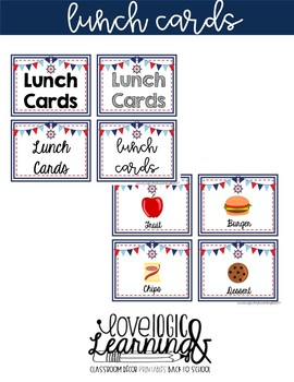 Nautical Lunch Choice Cards