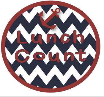 Nautical Lunch Count clip chart - editable