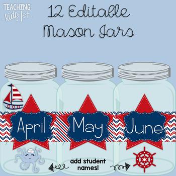 Nautical Mason Jar Sailor (Student) of the Week Editable Display