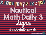 Nautical Math Daily 3 Signs & Rotation Schedule Cards
