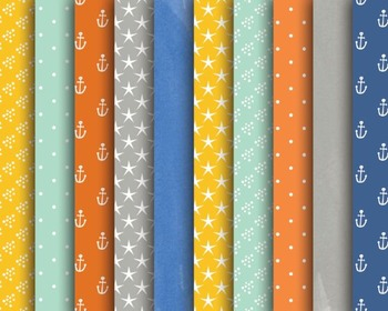 Nautical Mix Papers, Anchor, Star, Dots, Nautical Paper Set #027