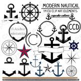 Nautical Modern Boat and Anchor Digital Clip Art Set