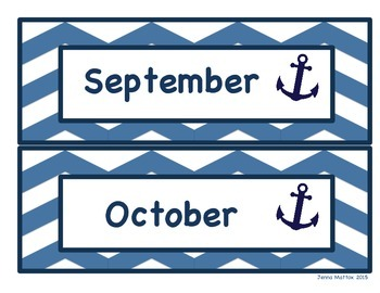 Nautical Month Cards