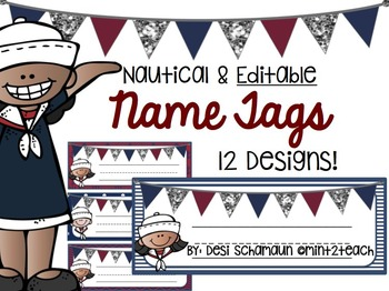Nautical Name Tags {EDITABLE}