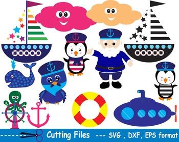 Nautical Navy EPS SVG DXF school teachers cutting party sailor Penguins CUT -02S