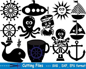 Nautical Navy EPS SVG DXF school teachers cutting cut party sailor Penguins  -03S