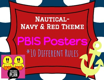 Nautical-Navy & Red Theme PBIS Posters