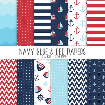 Nautical Navy, Red and Blue Digital Papers
