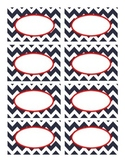 Nautical Navy, White, and Red Chevron Labels