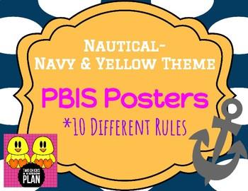 Nautical-Navy & Yellow Theme PBIS Posters