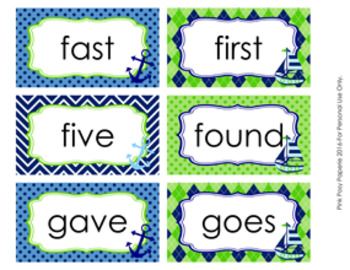 Nautical Navy and Lime 2nd Grade Dolch Sight Wall Words
