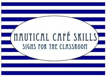 Nautical Navy and Lime CAFE skill signs