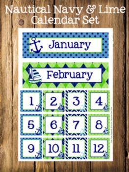 Nautical Navy and Lime Calendar Set - Months - Days - Numbers
