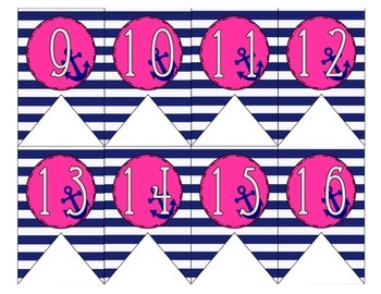 Nautical Navy and Pink Classroom Numbers