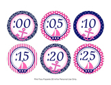Nautical Navy and Pink Theme Clock Number Labels