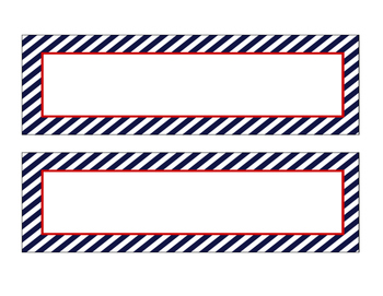 Nautical Navy and Red Desk Tags / Name tags /Labels
