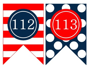 Nautical Navy and Red Number Cards