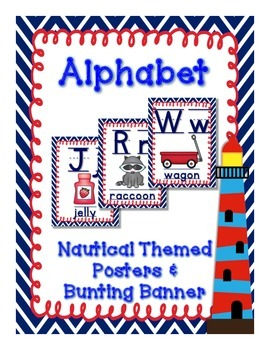 Nautical (Navy and Red) Theme Alphabet Posters and Bunting Banners