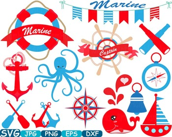 Nautical Navy cutting svg clip art anchor lighthouse sailor Summer flag 240s
