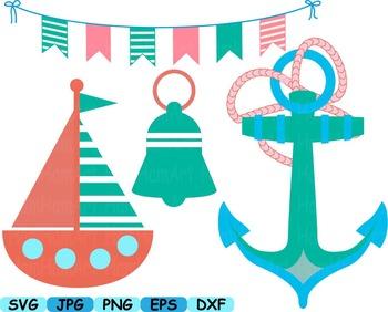 Nautical Navy cutting svg clip art anchor lighthouse sailor boat Summer flag 98s