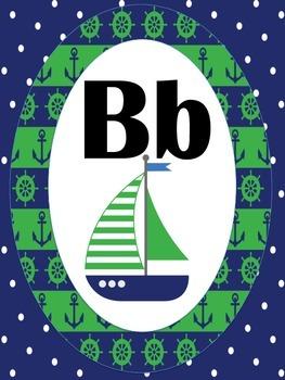 Nautical Navy/Green Alphabet