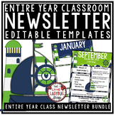 Nautical Theme Classroom Monthly & Weekly Newsletter Template Editable