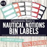 Nautical Notions Printable Bin Labels (Editable!) - 6 Colors!