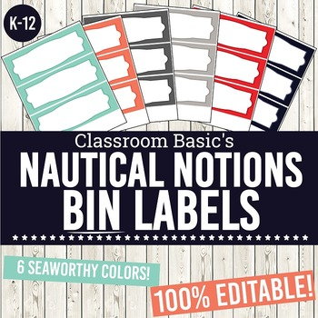 Nautical Notions Printable Bin Labels (Editable!) - 6 Colors!