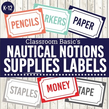 Nautical Notions Printable Supplies Labels (Editable!) - 6 Colors!