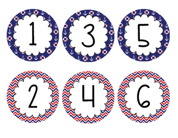 Nautical Number Line  - 3 Inch Circles