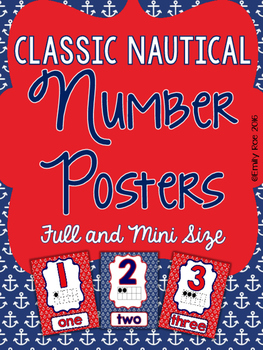 Nautical Number Posters - Classic Navy and Red