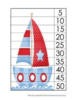 Nautical Number Counting Strip Puzzles - 5 Designs - Skip Count by 5