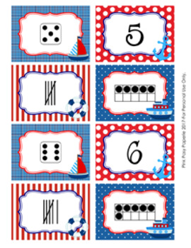 Nautical Numbers 1-10 Match Activity
