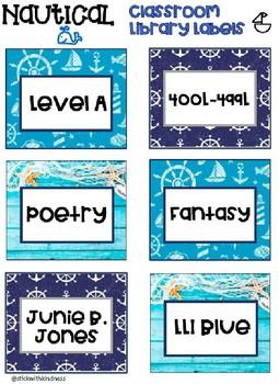 Nautical Ocean Classroom Library Labels 3 Designs EDITABLE