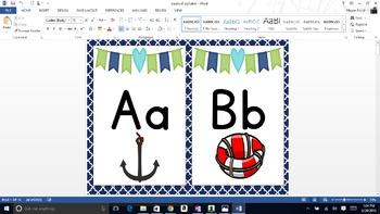 Nautical/ Ocean/ Navy and Green Alphabet