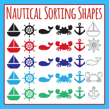 Nautical Ocean Shapes Set for Sorting - Commercial Use Clip Art Pack
