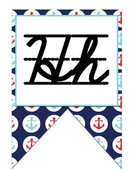 Nautical (Ocean) themed Cursive Alphabet Strip