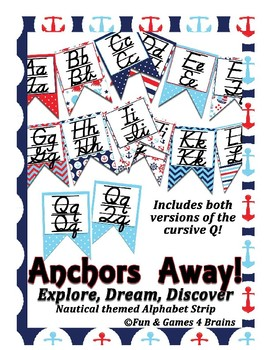 Nautical (Ocean) themed D'Nealian print and cursive Alphabet banner