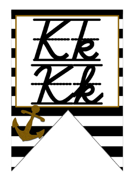 Nautical (Ocean) themed D'Nealian manuscript and cursive Alphabet banner