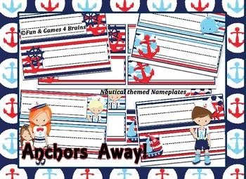 Nautical (Ocean) themed Desk Nameplates with manuscript & cursive alphabet