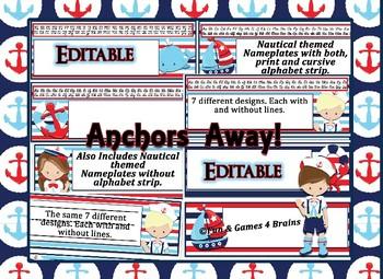 Editable Nautical themed Desk Nameplates with manuscript & cursive alphabet