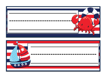 Nautical (Ocean) themed Namplates with and without lines