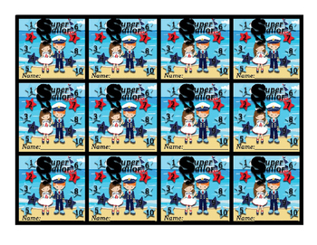 "Nautical (Ocean) themed behavior Punch card ""Super Sailor"""