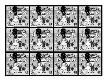 "Nautical (Ocean) themed behavior Punch card ""Super Sailor"""
