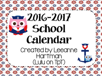 Nautical Owl Calendar (Updated Yearly)